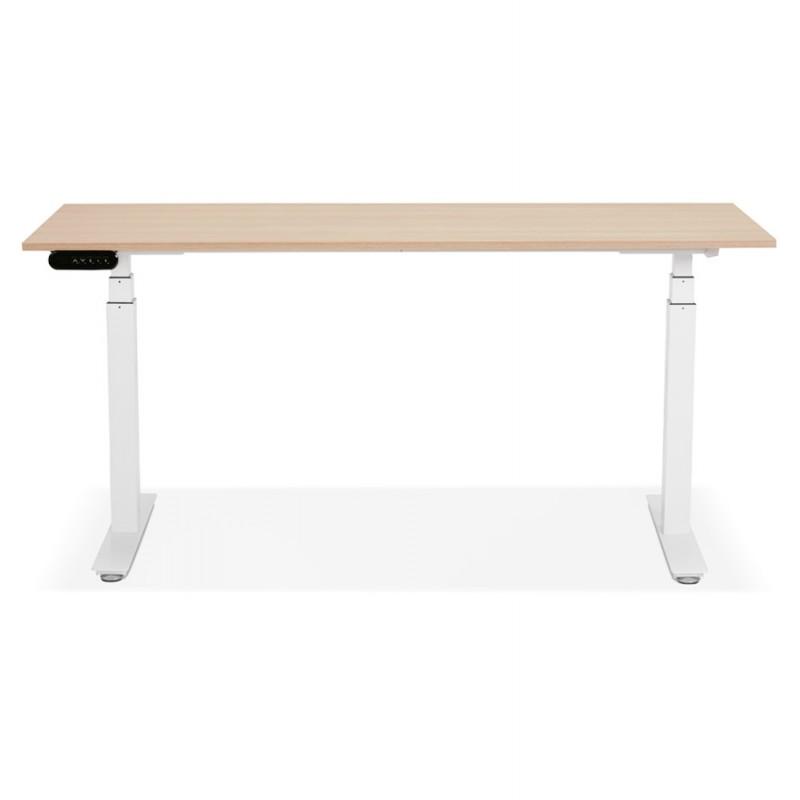 Bureau assis debout électrique en bois pieds blancs KESSY (160x80 cm) (finition naturelle) - image 49874