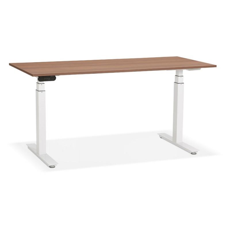 Bureau assis debout électrique en bois pieds blancs KESSY (160x80 cm) (finition noyer)