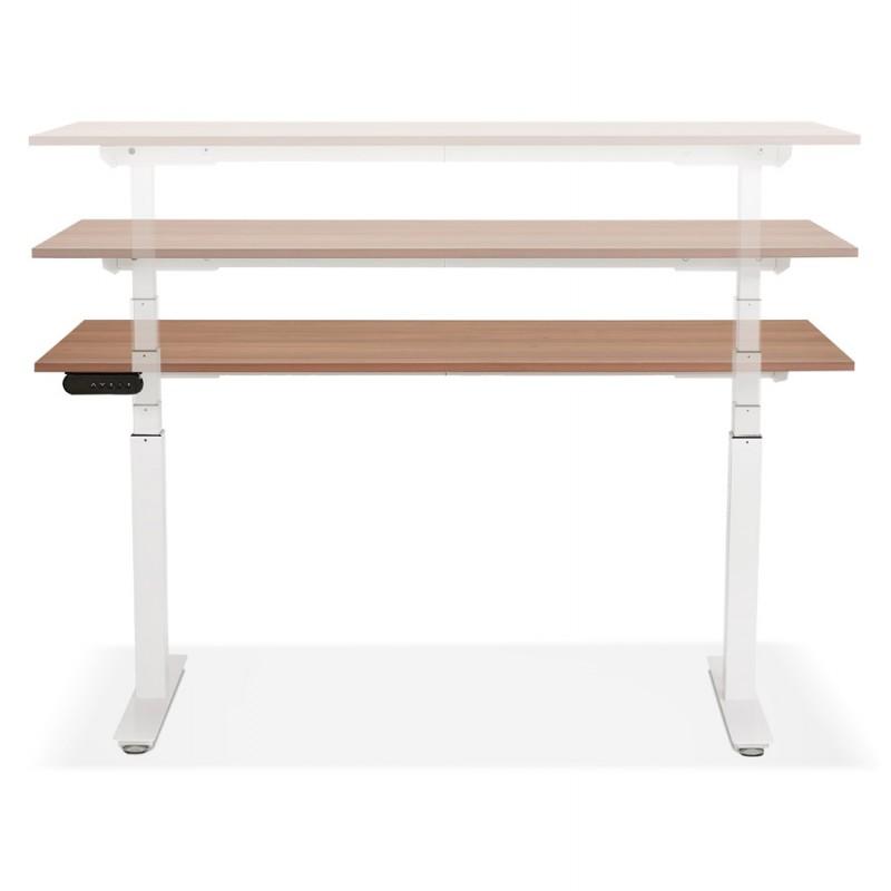 Bureau assis debout électrique en bois pieds blancs KESSY (160x80 cm) (finition noyer) - image 49885