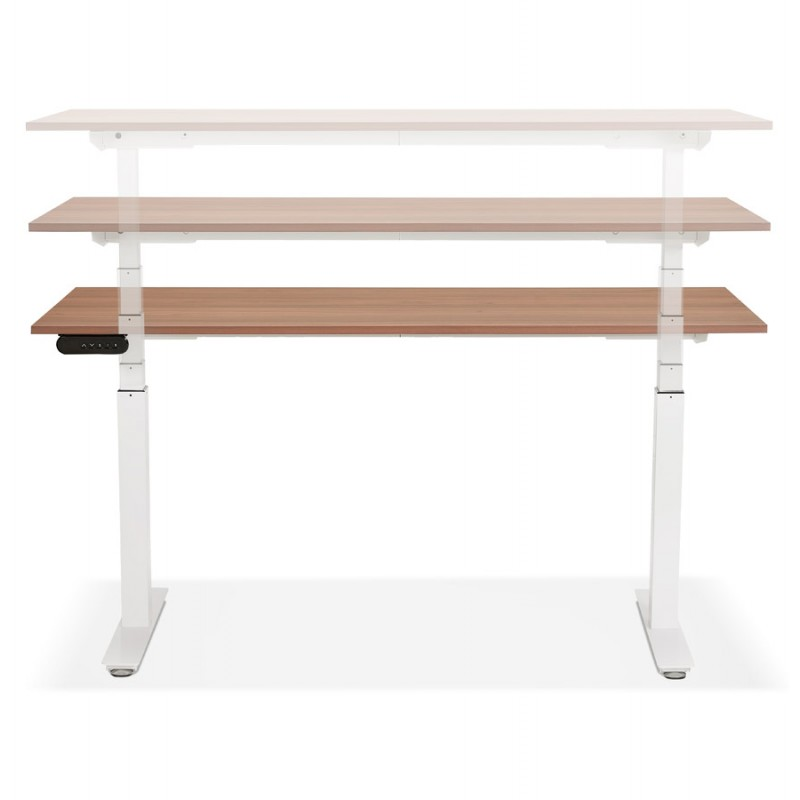 Seated standing electric wooden white feet KESSY (160x80 cm) (walnut finish) - image 49885