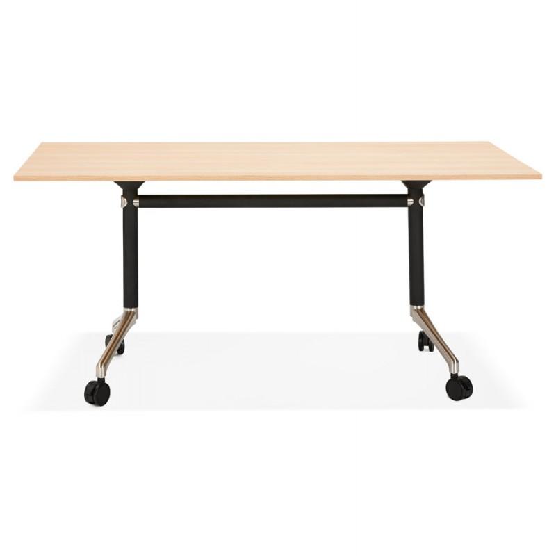 Tavolo a ruote in legno dai piedi neri SAYA (160x80 cm) (finitura naturale) - image 49989