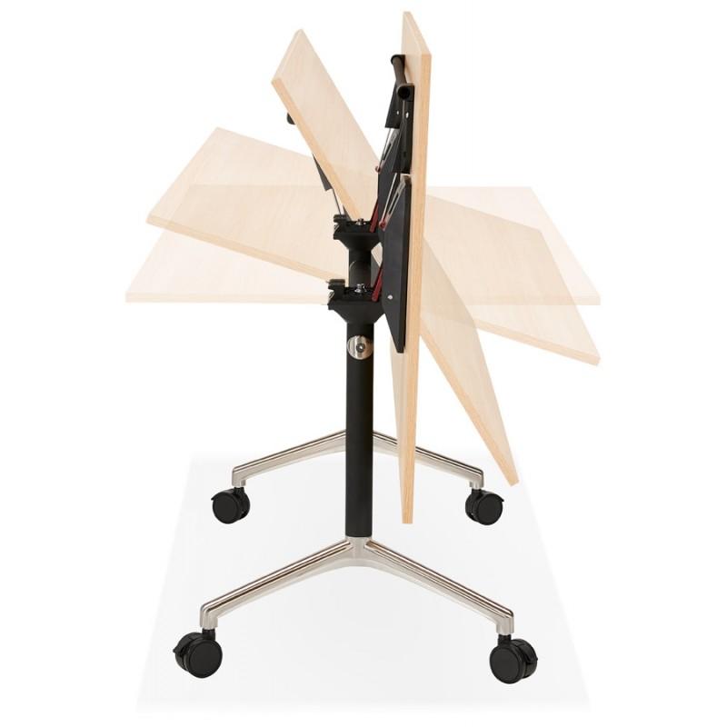 Table pliante sur roulettes en bois pieds noirs SAYA (160x80 cm) (finition naturelle) - image 49993