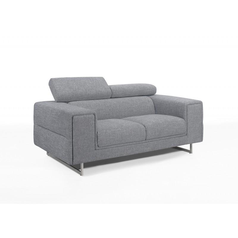 Canapé droit design 2 places avec têtières CYPRIA en tissu (gris)