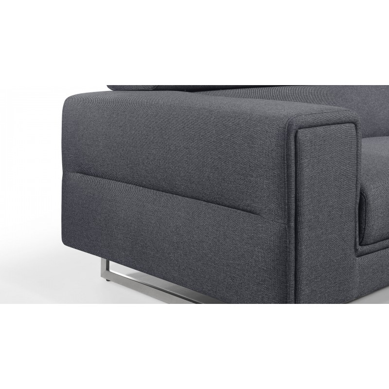Canapé droit design 2 places avec têtières CYPRIA en tissu (gris foncé) - image 50142