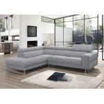 Canapé d'angle design 5 places avec appuis-tête ILONA en tissu - Angle Gauche (gris)