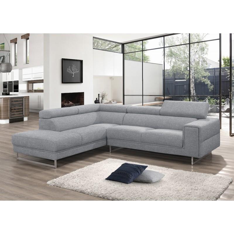 Canapé d'angle design 5 places avec appuis-tête ILONA en tissu - Angle Gauche (gris) - image 50147