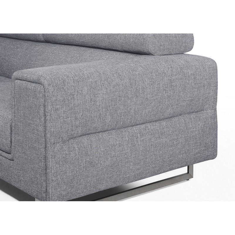 Canapé d'angle design 5 places avec appuis-tête ILONA en tissu - Angle Gauche (gris) - image 50154