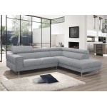Canapé d'angle design 5 places avec appuis-tête ILONA en tissu - Angle Droit (gris)