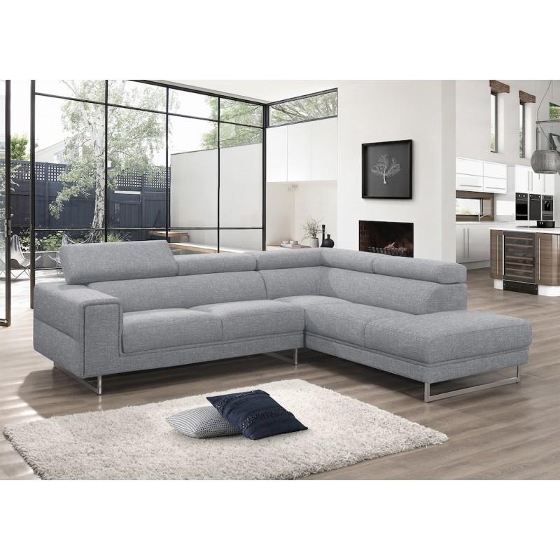 Canapé d'angle design 5 places avec appuis-tête ILONA en tissu - Angle Droit (gris) - image 50159