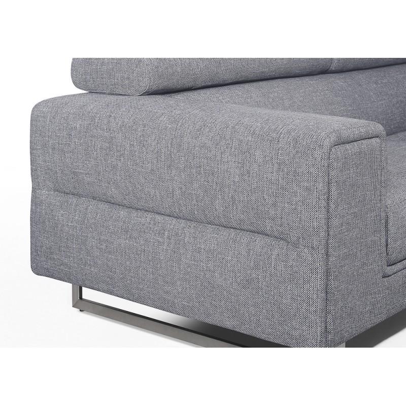 Canapé d'angle design 5 places avec appuis-tête ILONA en tissu - Angle Droit (gris) - image 50166