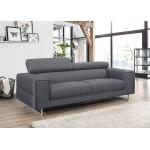 Canapé droit design 3 places avec têtières CYPRIA en tissu (gris foncé)