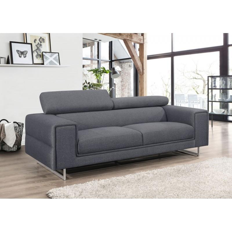 Canapé droit design 3 places avec têtières CYPRIA en tissu (gris foncé) - image 50170