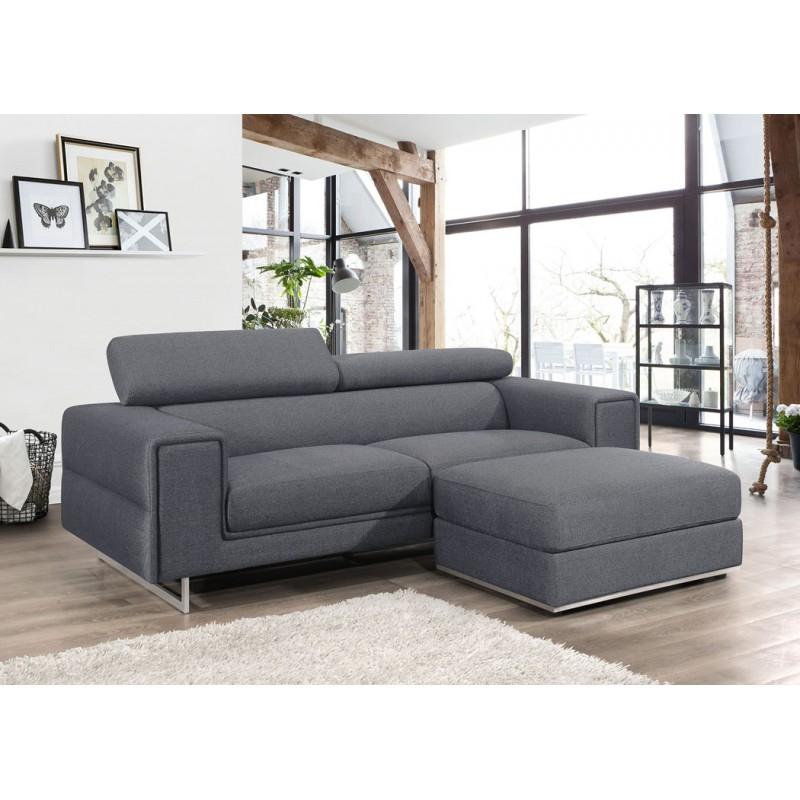 Canapé droit design 3 places avec têtières CYPRIA en tissu (gris foncé) - image 50171