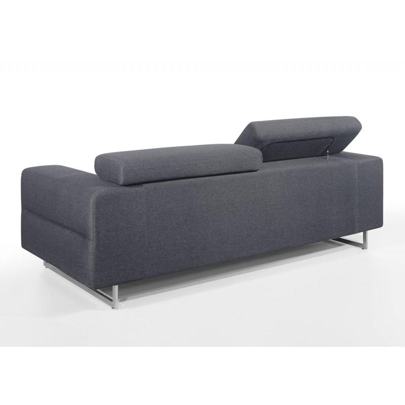 Canapé droit design 3 places avec têtières CYPRIA en tissu (gris foncé) - image 50172
