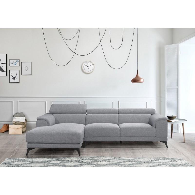 Canapé d'angle design 3-5 places avec appuis-tête LESLIE en tissu  - Angle Gauche (gris) - image 50178