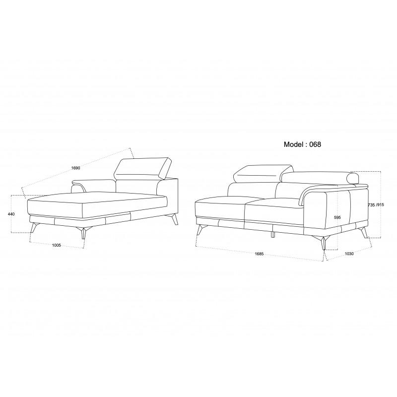 Canapé d'angle design 3-5 places avec appuis-tête LESLIE en tissu  - Angle Gauche (gris) - image 50186