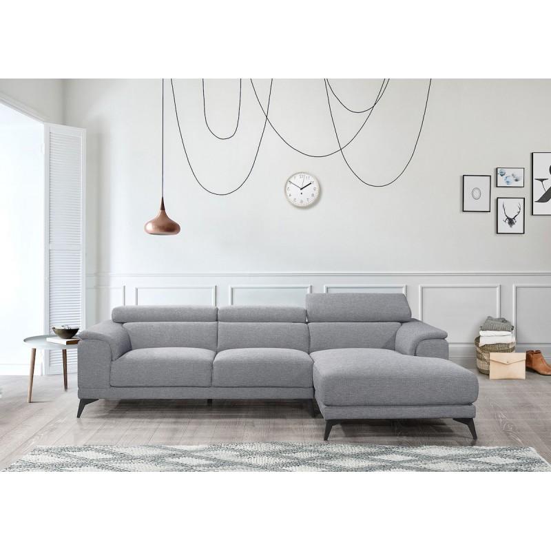 Canapé d'angle design 3-5 places avec appuis-tête LESLIE en tissu  - Angle Droit (gris) - image 50189