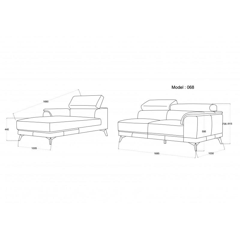 Canapé d'angle design 3-5 places avec appuis-tête LESLIE en tissu  - Angle Droit (gris) - image 50196
