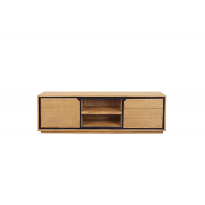 Solid teak TV furniture 2 doors 2 niches JENNA (150 cm) (natural)