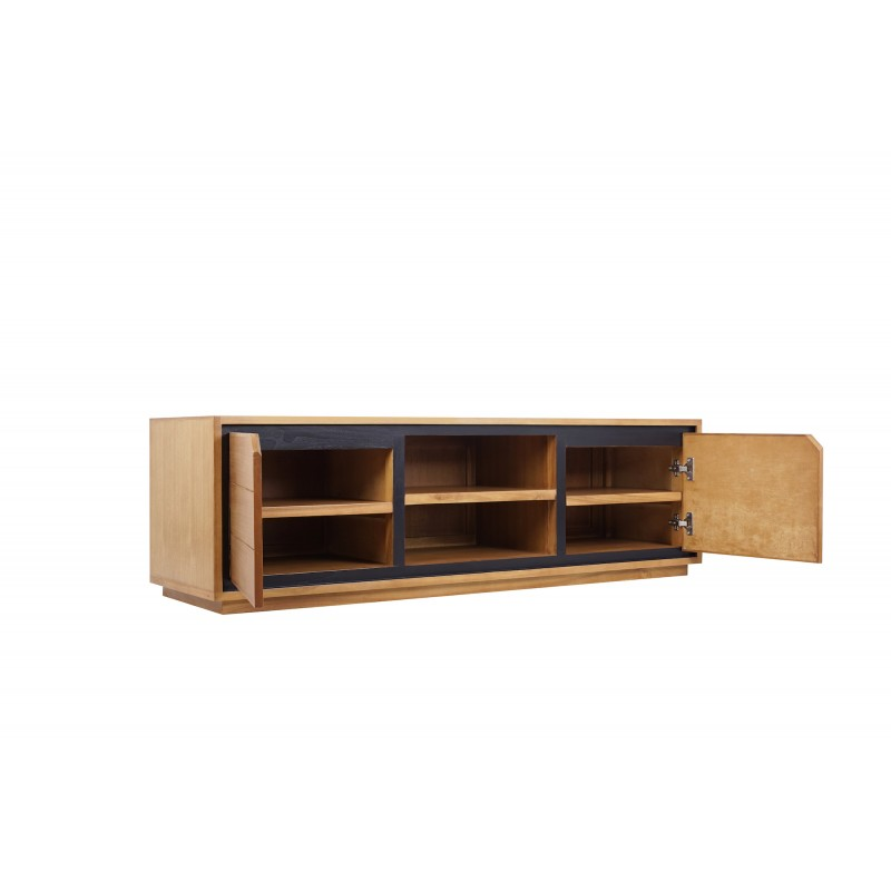 Solid teak TV furniture 2 doors 2 niches JENNA (150 cm) (natural) - image 50277