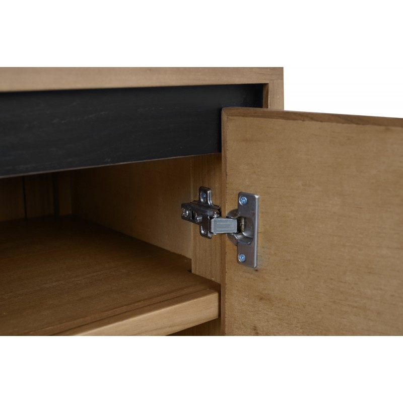 Solid teak TV furniture 2 doors 2 niches JENNA (150 cm) (natural) - image 50284