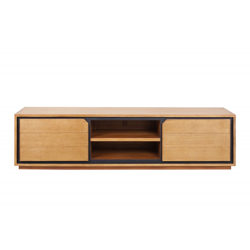 Solid teak TV furniture 2 doors 2 niches JENNA (180 cm) (natural)