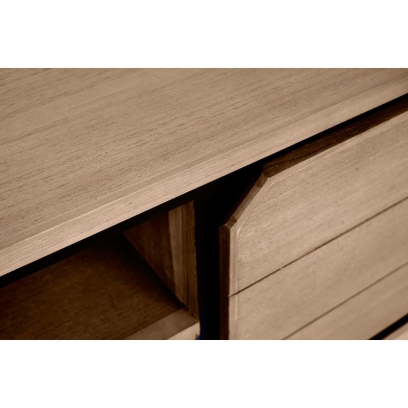 Solid teak TV furniture 2 doors 2 niches JENNA (180 cm) (natural) - image 50296