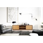 Muebles de TV de teca maciza 2 puertas 2 nichos JENNA (200 cm) (natural)