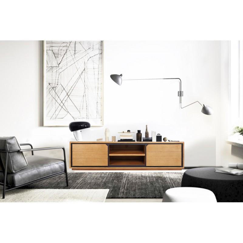 Muebles de TV de teca maciza 2 puertas 2 nichos JENNA (200 cm) (natural) - image 50305