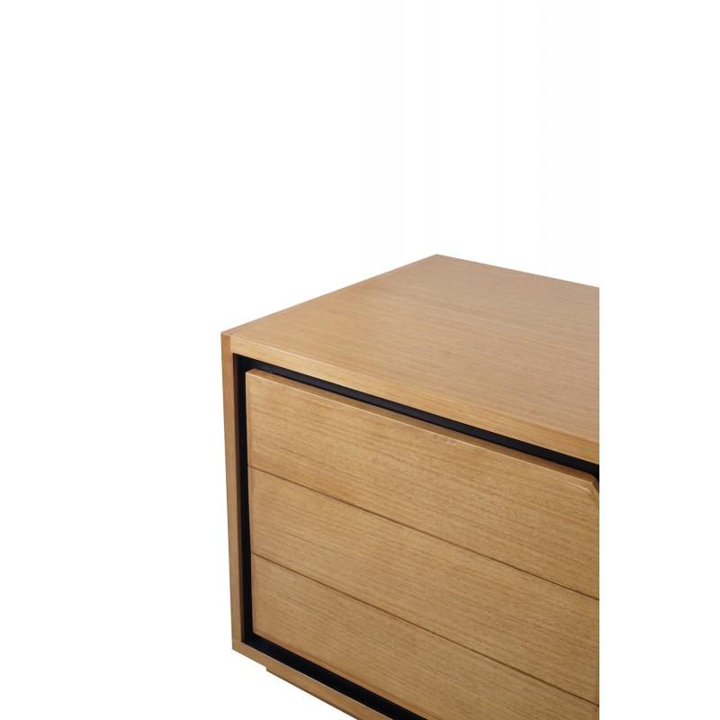 Muebles de TV de teca maciza 2 puertas 2 nichos JENNA (200 cm) (natural) - image 50309