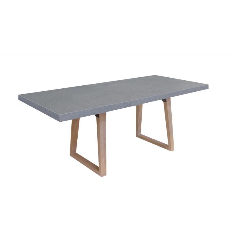 Table à manger design pieds teck massif OXANA (200 cm) (gris) - image 50312