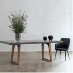 Table à manger design pieds teck massif OXANA (200 cm) (gris)
