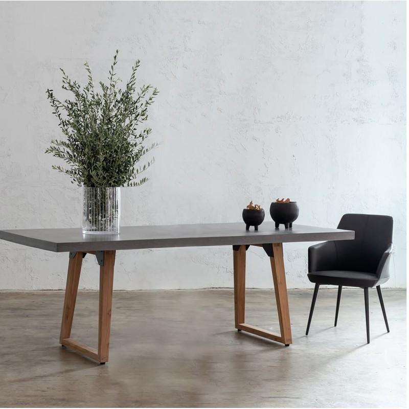Table à manger design pieds teck massif OXANA (200 cm) (gris) - image 50314