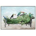 Pintura decorativa sobre lienzo PERROQUET