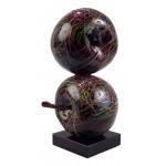 Statue sculpture décorative design DUO POMMES (H55 cm) (noir)
