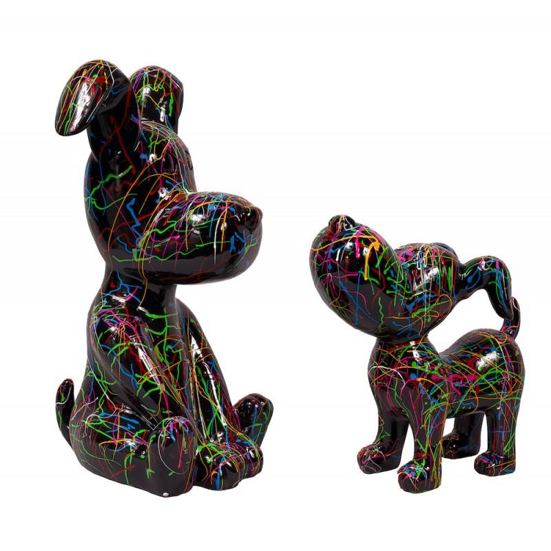 Statue sculpture décorative design DUO CHIENS GRAFFITI (H45 H30) (noir) - image 50413