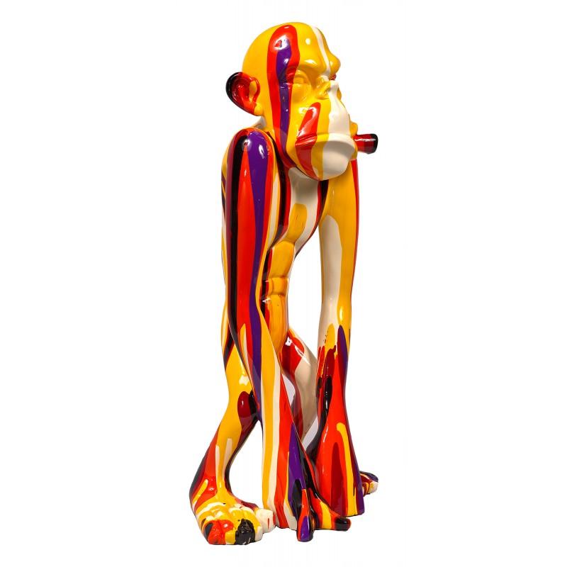 Statue sculpture décorative design SINGE TRASH (H58) (Multicolore)