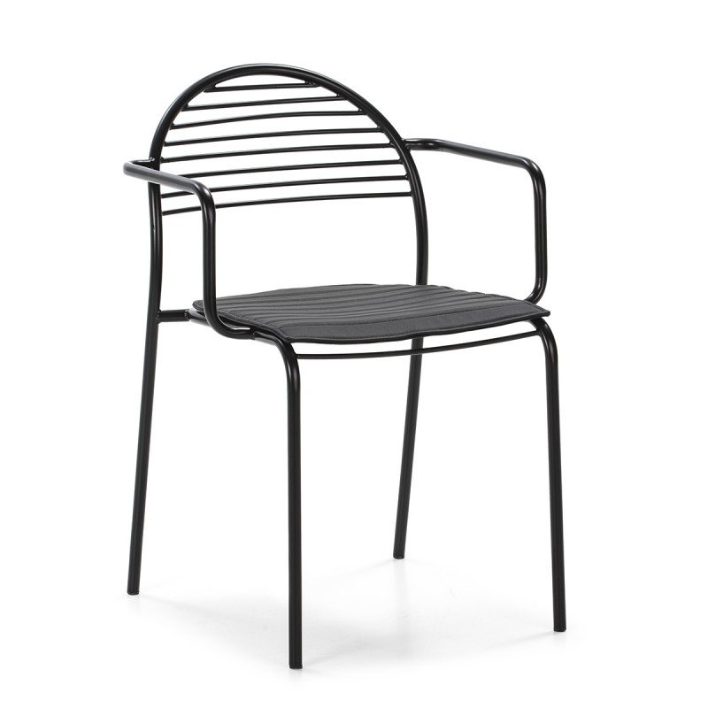 Chaise 57x55x80 Métal Noir Cuir synthétique Noir