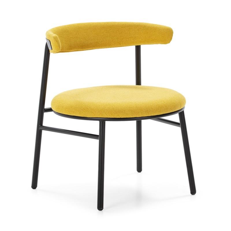 Retro Chair 59X59X70 Metal Black Fabric Yellow