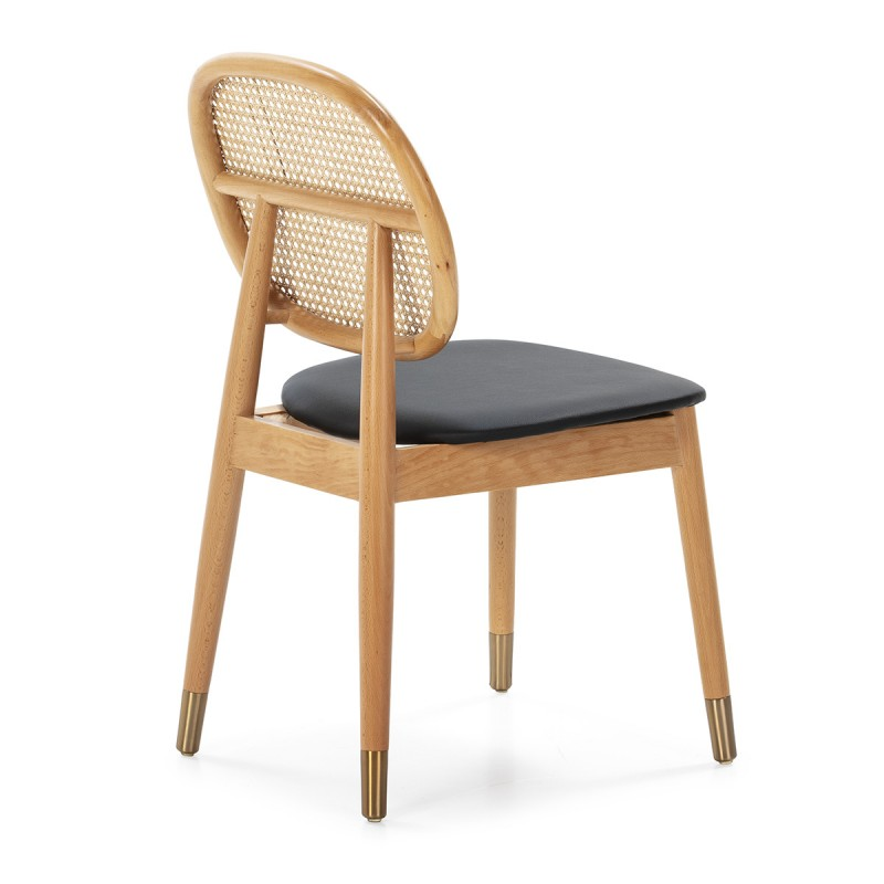 Chair 47X54X86 Wood Natural P.Leather Black Rattan Natural Metal Golden - image 50468