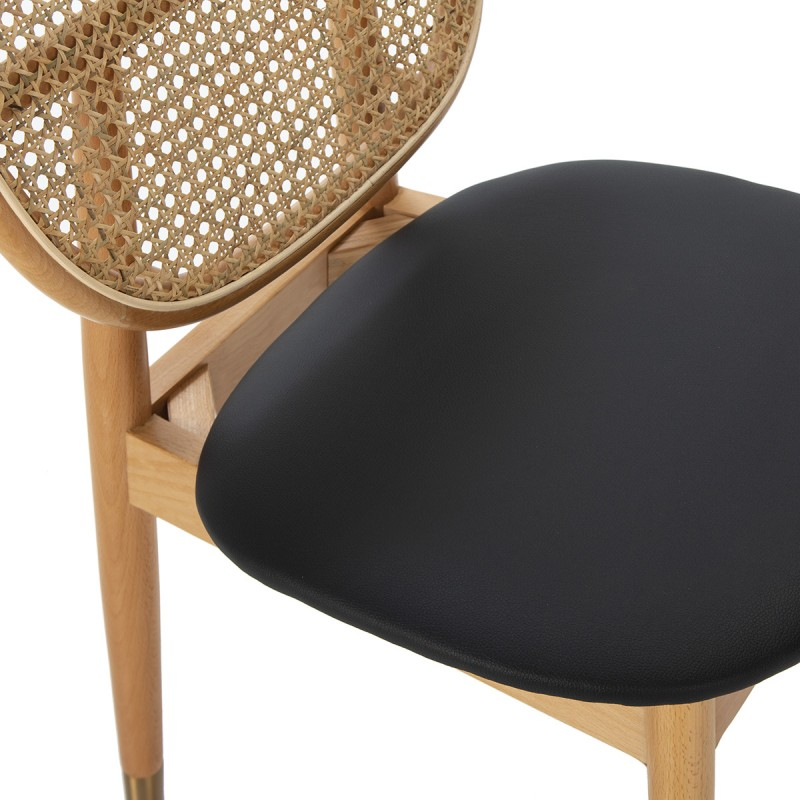 Chair 47X54X86 Wood Natural P.Leather Black Rattan Natural Metal Golden - image 50469