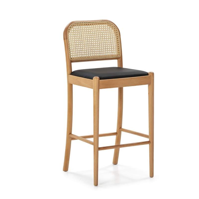 Snack Stool 43X47X97 Wood Natural P.Leather Black Rattan Natural - image 50480