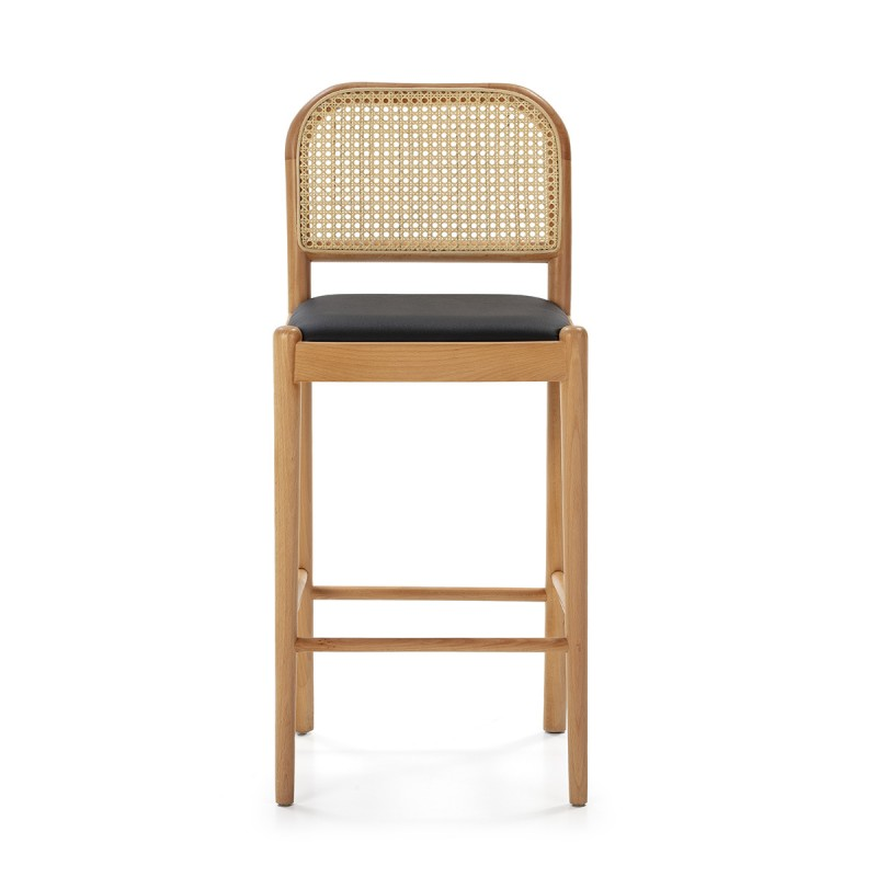 Snack Stool 43X47X97 Wood Natural P.Leather Black Rattan Natural - image 50481