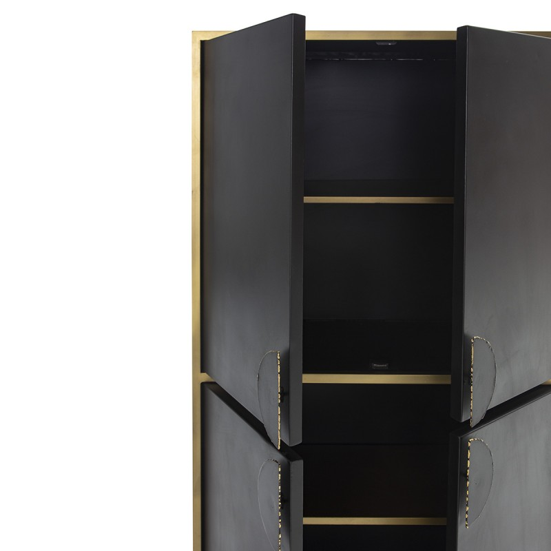 Armoire 82x43x158 Métal Noir Doré - image 50523