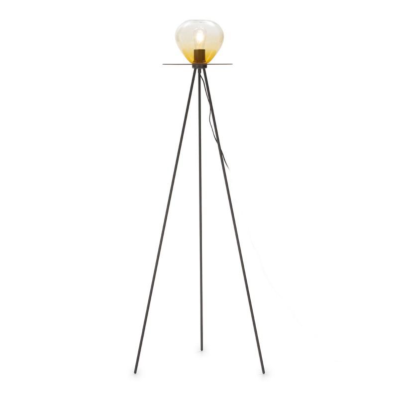 Lámpara De Pié 60X60X160 Metal Negro Cristal Ámbar