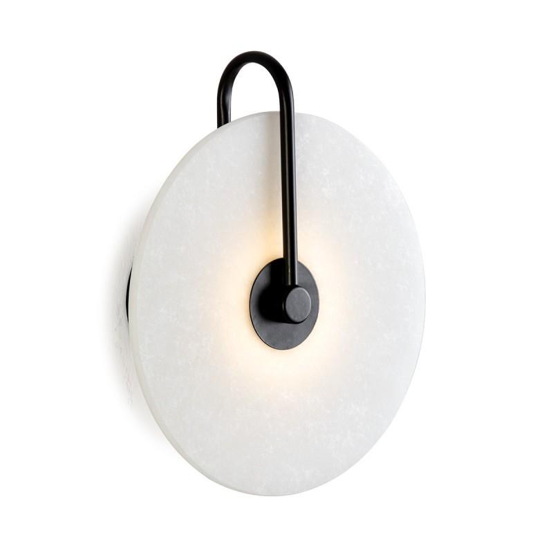 Wall Lamp 25X10X29 Marble White Metal Black - image 50579