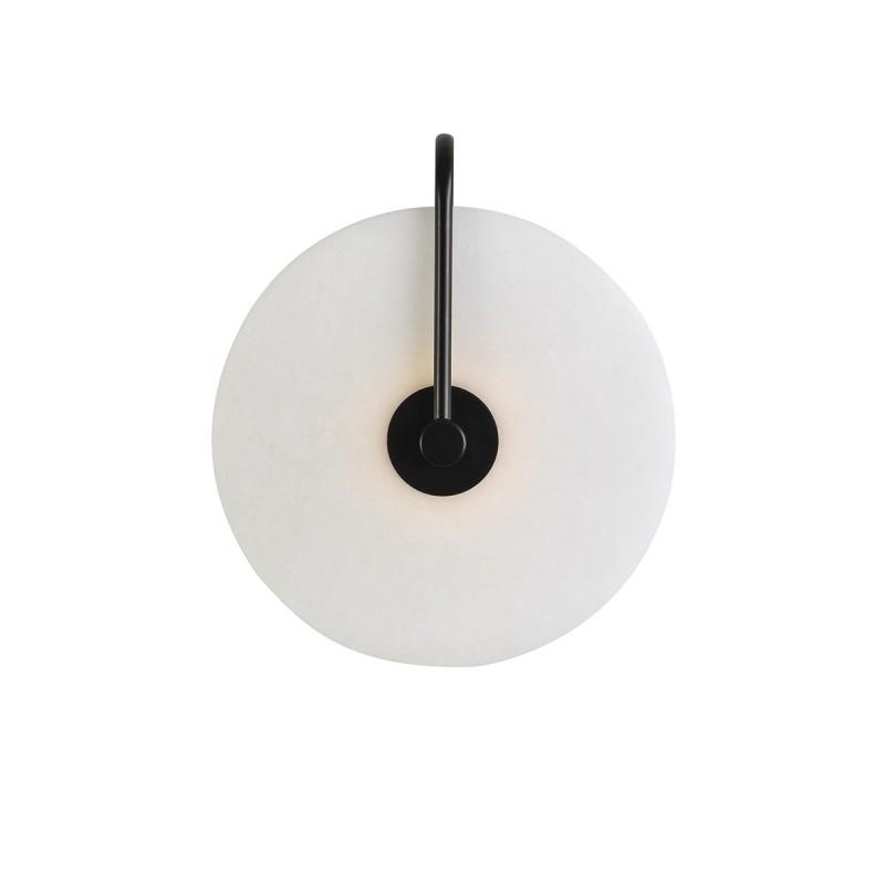 Wall Lamp 25X10X29 Marble White Metal Black - image 50580