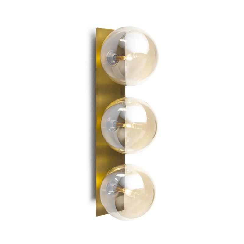 Wandlampen 15X18X50 Glas Bernstein/Metall Golden