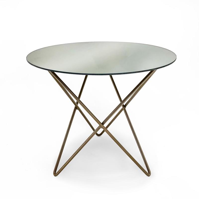Table d'appoint, bout de canapé 43x43x37 Miroir Métal Doré - image 50625
