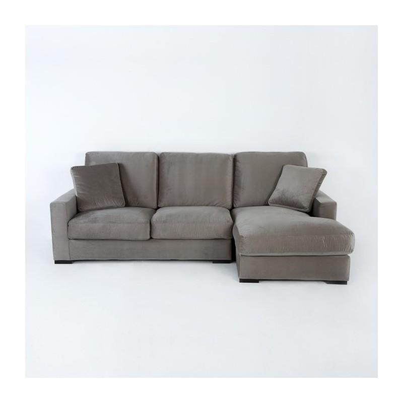 Canapé d'angle 3 places 253x170x94 gris (angle droit)